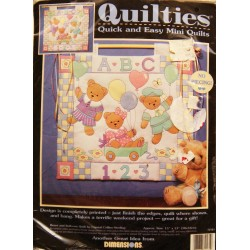 "Quilties - Bears and Balloons Quilt ~ Quick and Easy Mini Quilt 15"" X 13"""