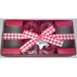 Four Apple & Cinnamon Votive Candles, Two Votive Glass Holders