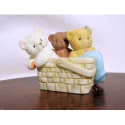 Cherished Teddies - Tiny Treasured Teddies - 3 Bears/Basket Figurine 104857
