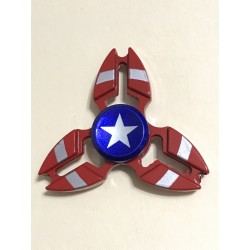 Fidget Spinner 'Crab' Toy Stress Reducer (USA Flag - Aluminum)