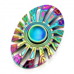 Fidget Spinner 'Oval' Toy Stress Reducer (Rainbow - Aluminum)