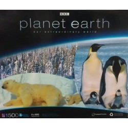 Emperor Penguins with Chicks / Boreal Forest In Snow / Polar Bear & Cub - 3 in 1 Sure-Lox 1500 Piece Puzzle