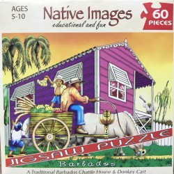 Barbados: A Traditional Barbados Chattle House & Donkey Cart - Native Images 60 Piece Puzzle