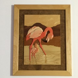 Flamingo with Chick [Wood Plaque]
